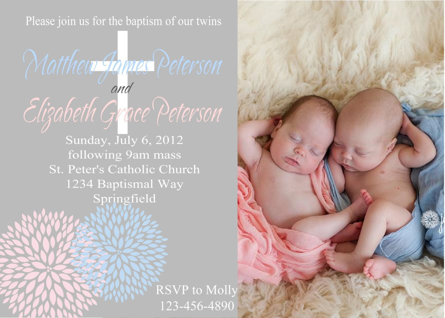 twin boy and girl baptism invitations invitations pinterest