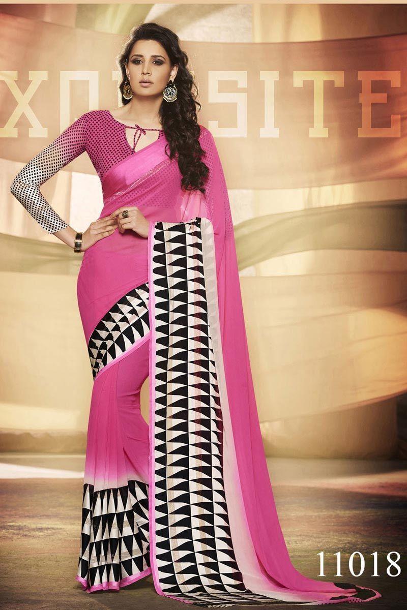 Saree blouse design new pink georgette satin border designer saree with pink u beige