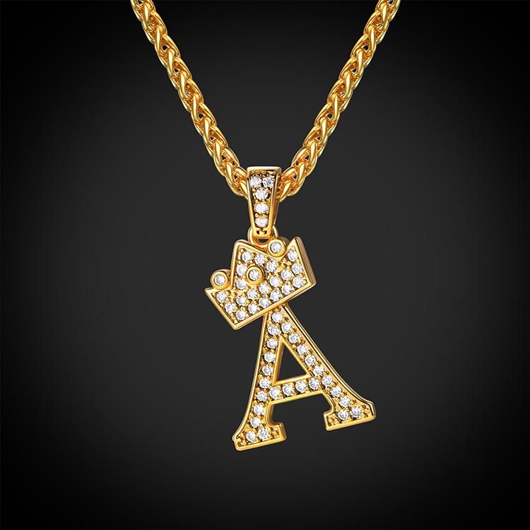 f76f52b244 Iced Out Crown Letter A Pendant Necklace Initial Capital Jewelry – U7  Jewelry
