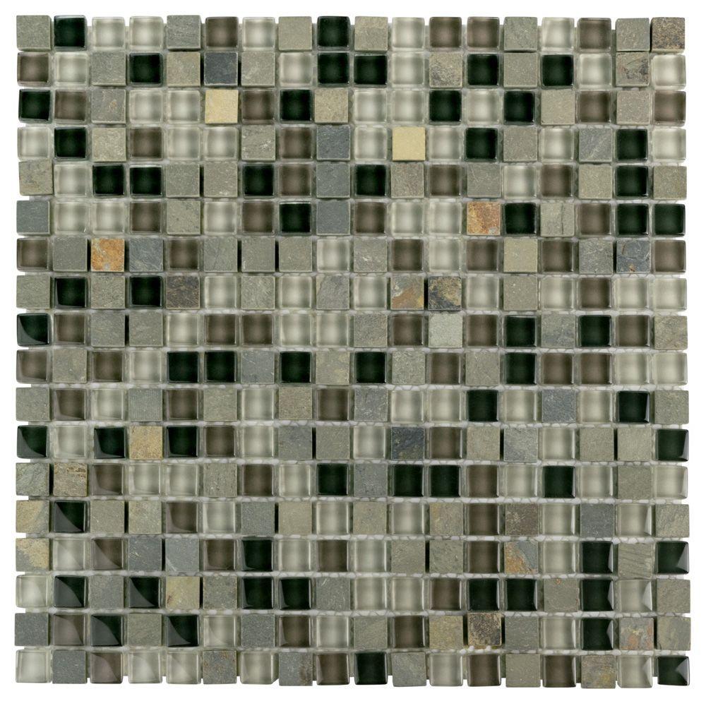 Tessera Mini Stonehenge 11 3 4 Inch X 11 3 4 Inch X 8 Mm Glass And Stone Mosaic Tile 9 79 Sf Case Stone Mosaic Tile Mosaic Tiles