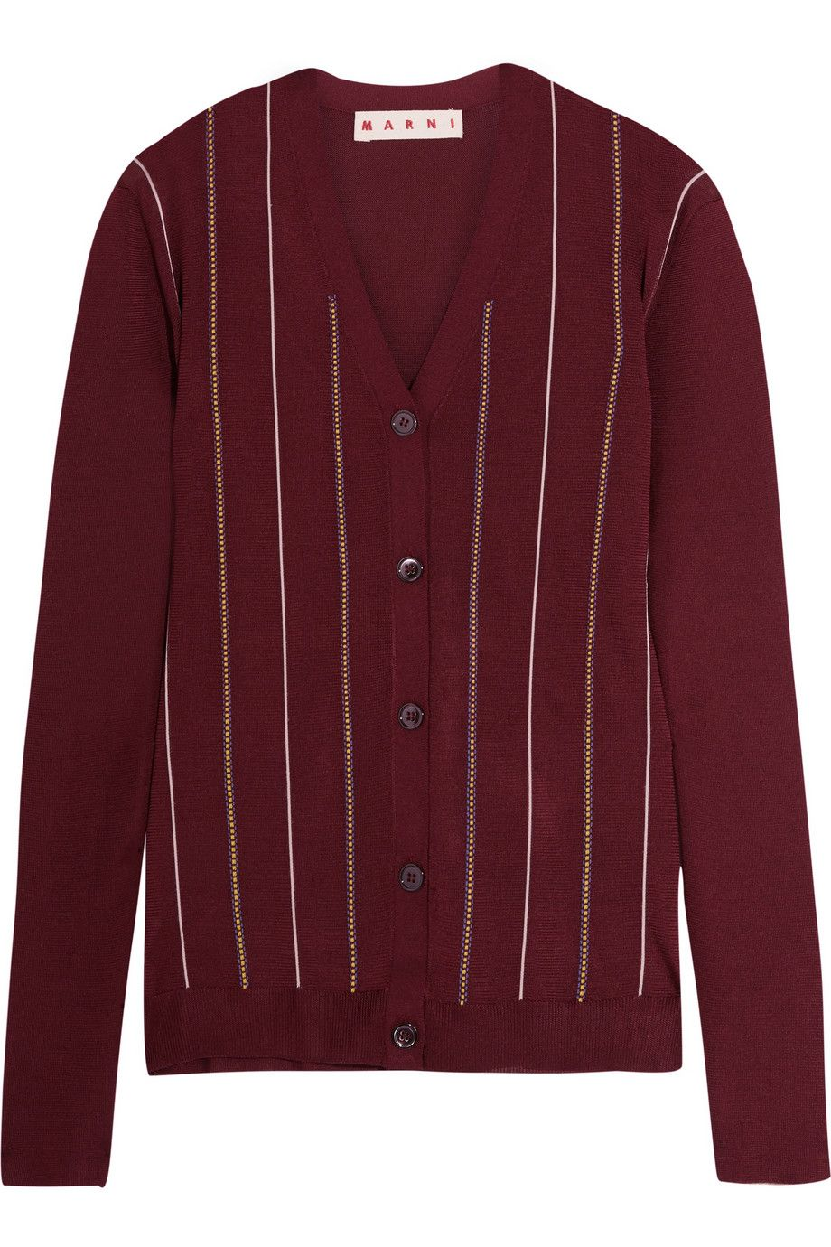 Marni   Embroidered striped silk-blend cardigan   NET-A-PORTER.COM