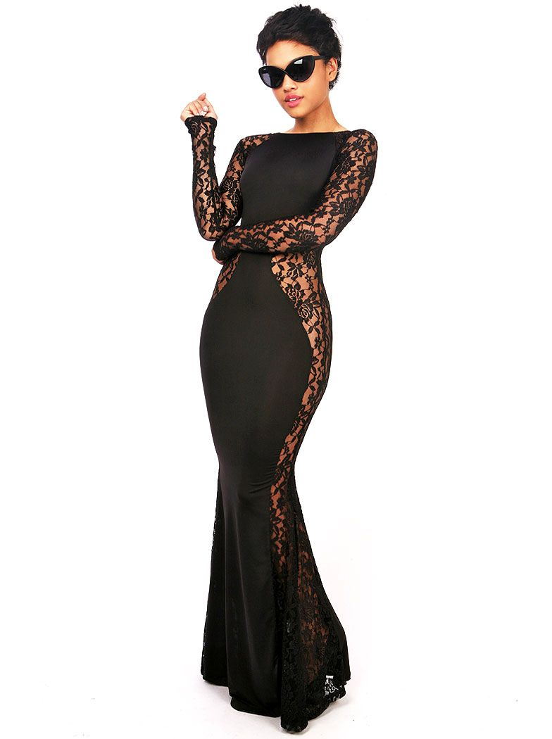 Black hollow lace long sleeve maxi dress fashion statement