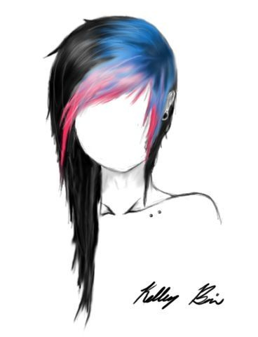 Hair color / long hair / pink / blue / black