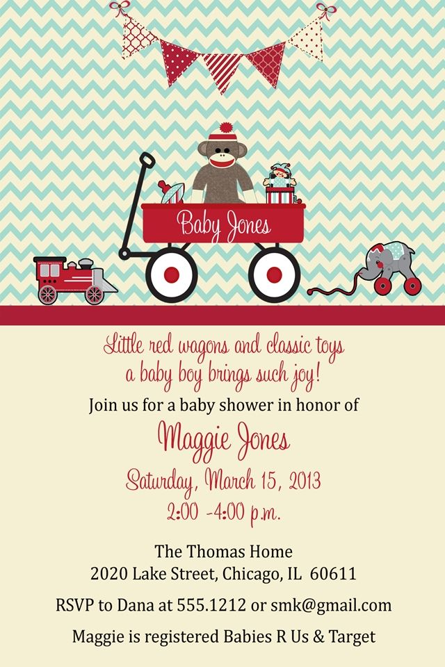 Little Red Wagon, Sock Monkey, Vintage Toy Baby Shower Invitation ...