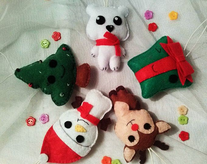 Christmas ornaments SET of 6 Christmas ornaments Felt Winter