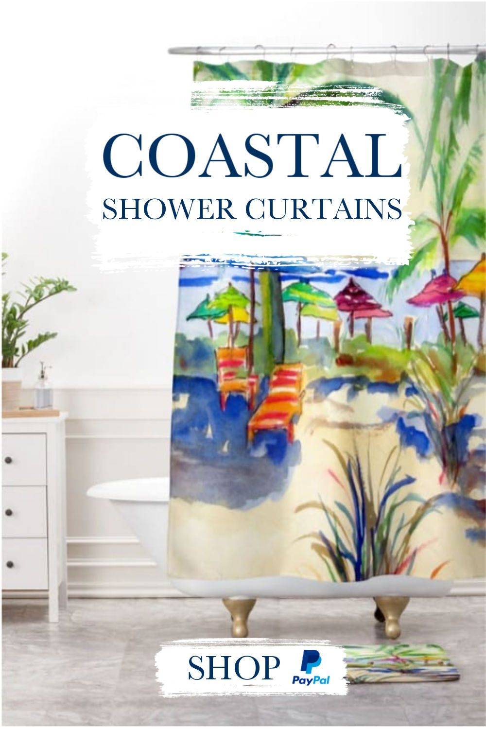 Caribbean Time Shower Curtain Beachy Colors Coastal Decorating