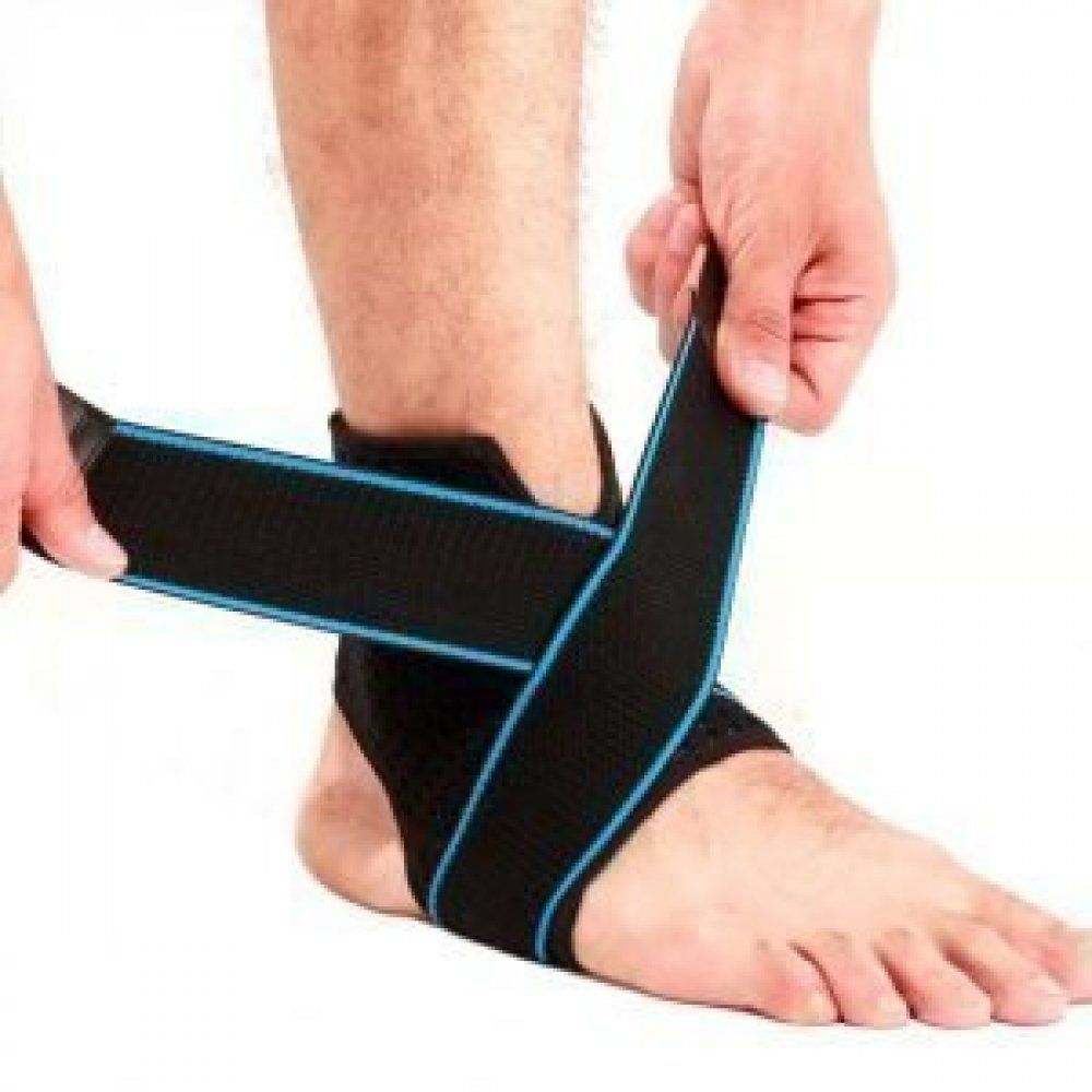 Ankle support brace compression sleeve with adjustable