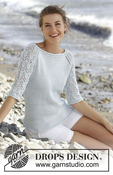 Sea Nymph Knitted Drops Jumper With Raglan Lace Pattern And Sleeves In Muskat Worked Top Down Si Sweater Pattern Knitting Women Knitting Patterns Free