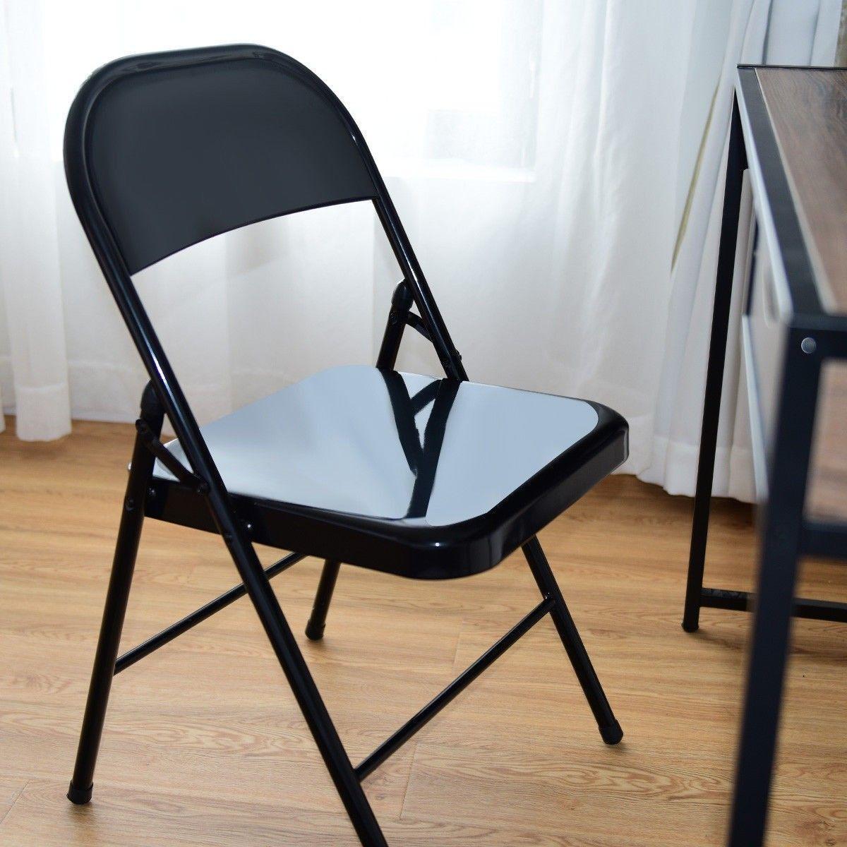 Set Of 4 Steel Frame Heavy Duty Armless Folding Chairs Folding