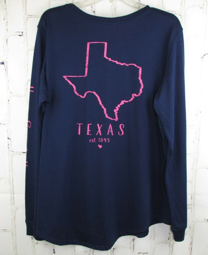 4267c99a5d499 Texas State of Mine 2X Long Sleeve Pocket T-Shirt Top womens XXL Navy Blue  Pink #StateofMine #TShirt #Casual