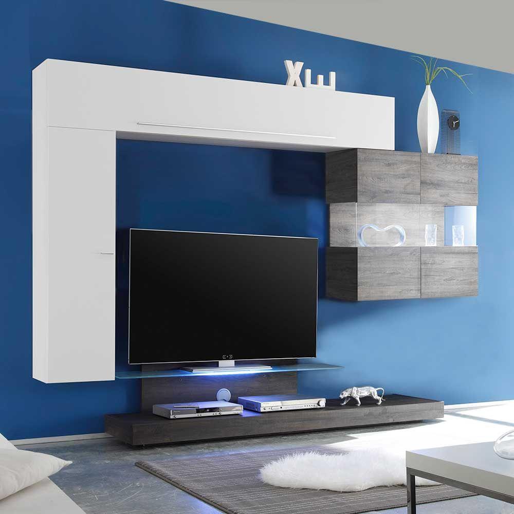 Design Wohnwand mit TV Podest Weiß Hochglanz Eiche Wenge (4-teilig ...