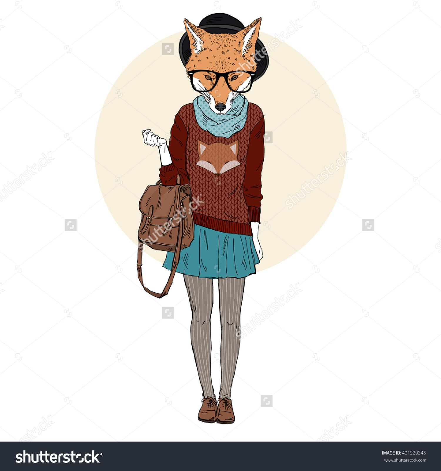 fox girl hipster in foxy pullover, furry art illustration, fashion animals