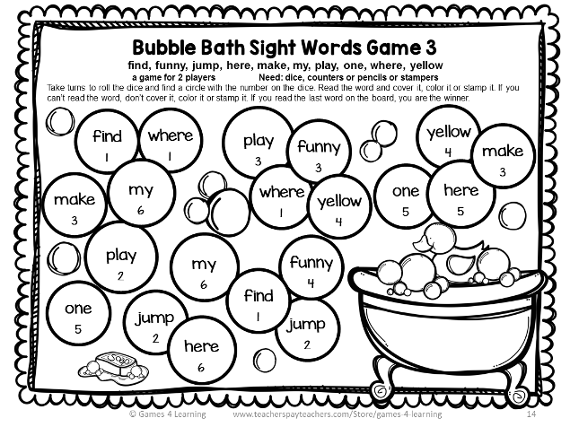 bubble bath sight word board game with dolch pre primer sight words Reps and Sets bubble bath sight word board game with dolch pre primer sight words from sight word