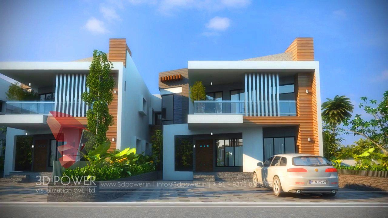 3d exterior rendering of row house