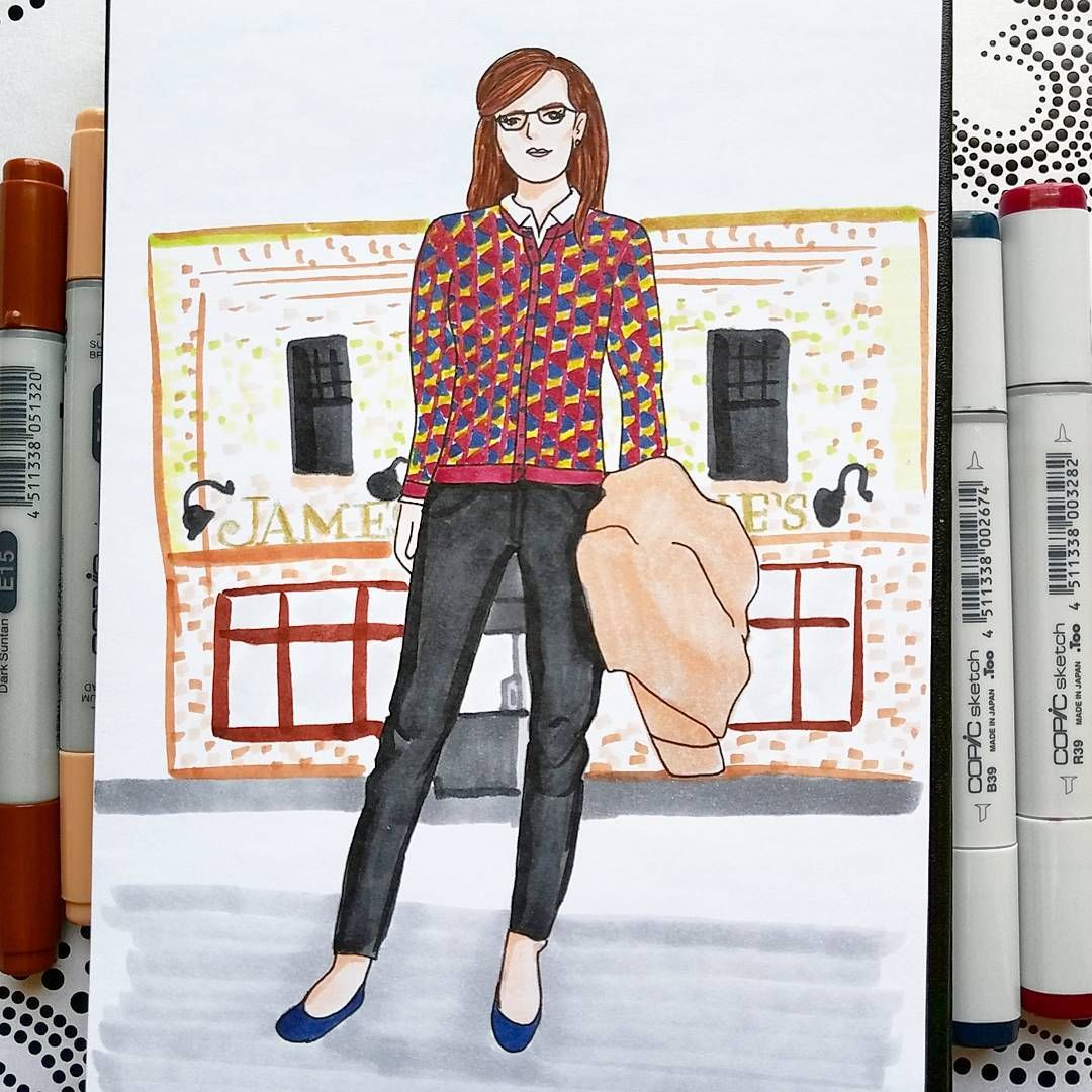 OOTD Ann Taylor cardigan, liverpool jeans nicole black pants, Cole Haan navy flats, Banana Republic camel coat. In front of McNellie's pub in Tulsa, OK. Done with Copic Markers by Alexa's Illustrations. Alexasillustrations