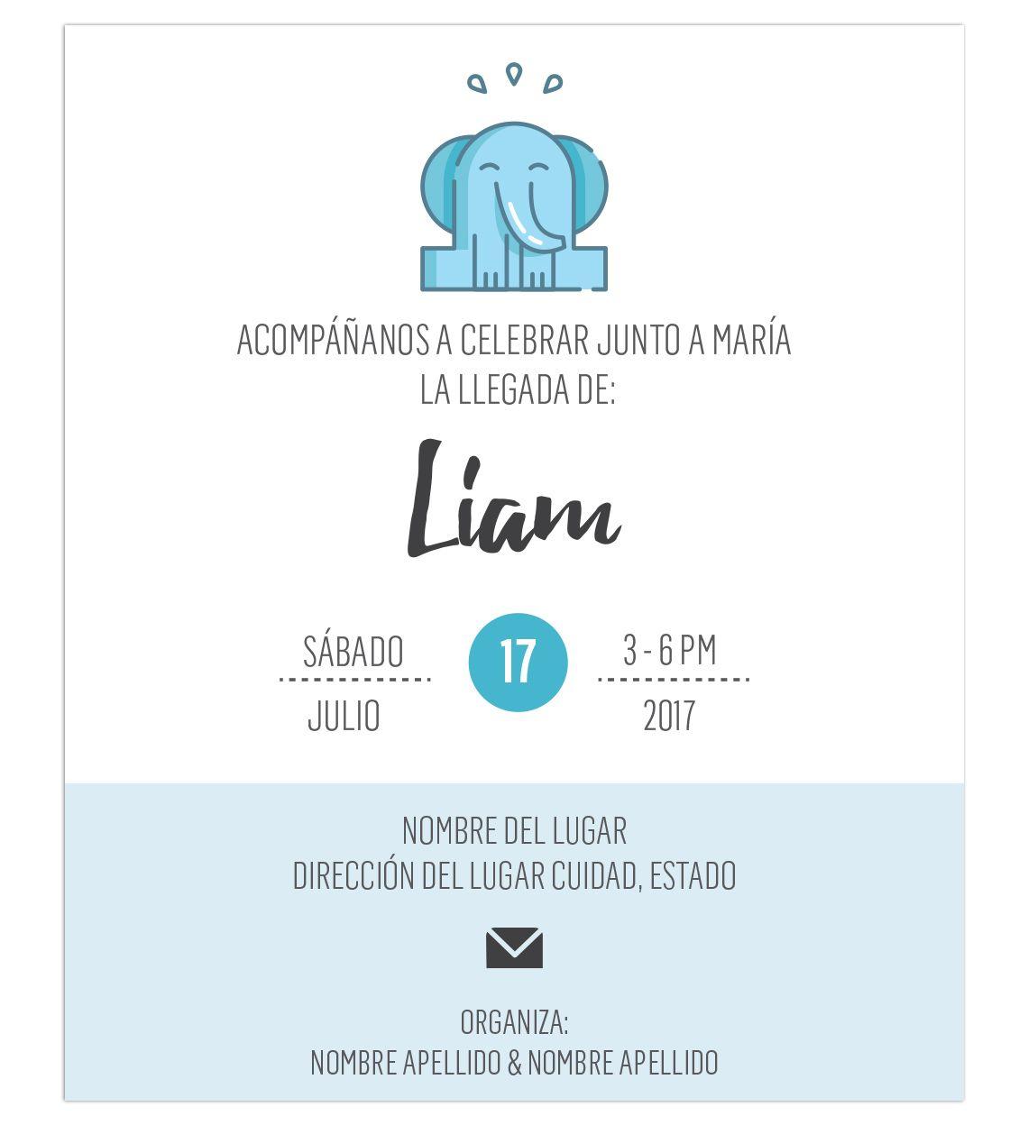 Invitacin Baby Shower Elefante Azul Lista Para Imprimir Tarjetas