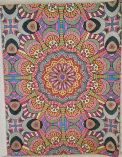 Kaleidoscope Wonders Coloring Book Gel Pens Used 1 24 16
