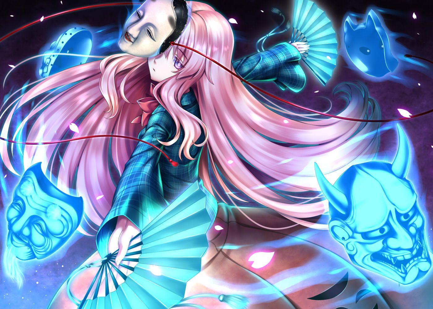 Fan Hata No Kokoro Mask Nonbei Petals Pink Hair Purple Eyes Touhou Konachan Com Anime Anime Images Kokoro