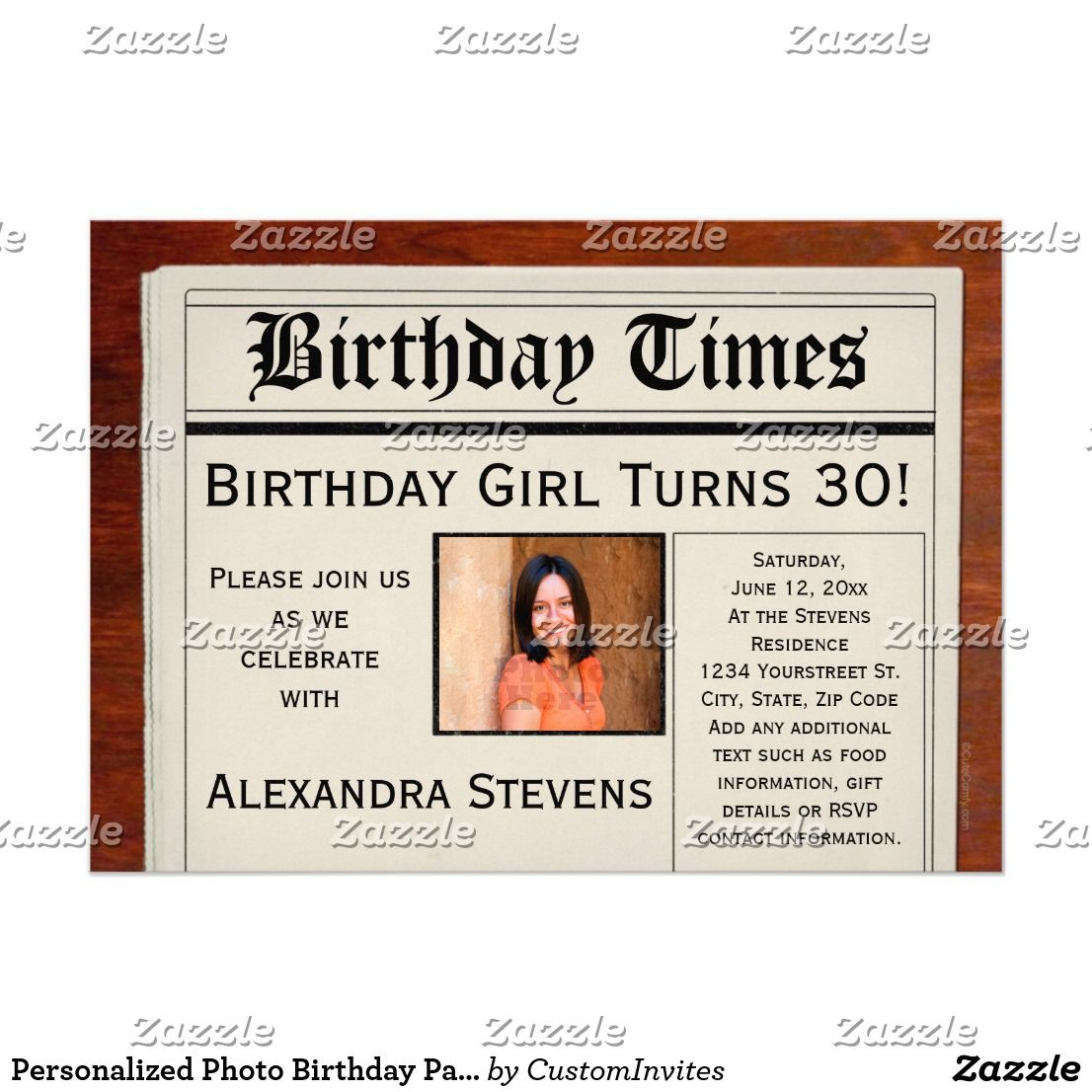 Personalized Photo Birthday Party Newspaper Card Age 30 And Birthdays