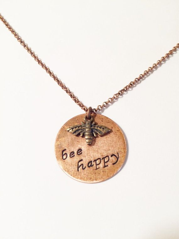 Bee Happy Necklace Hand Stamped Bee Charm by MallEadornments