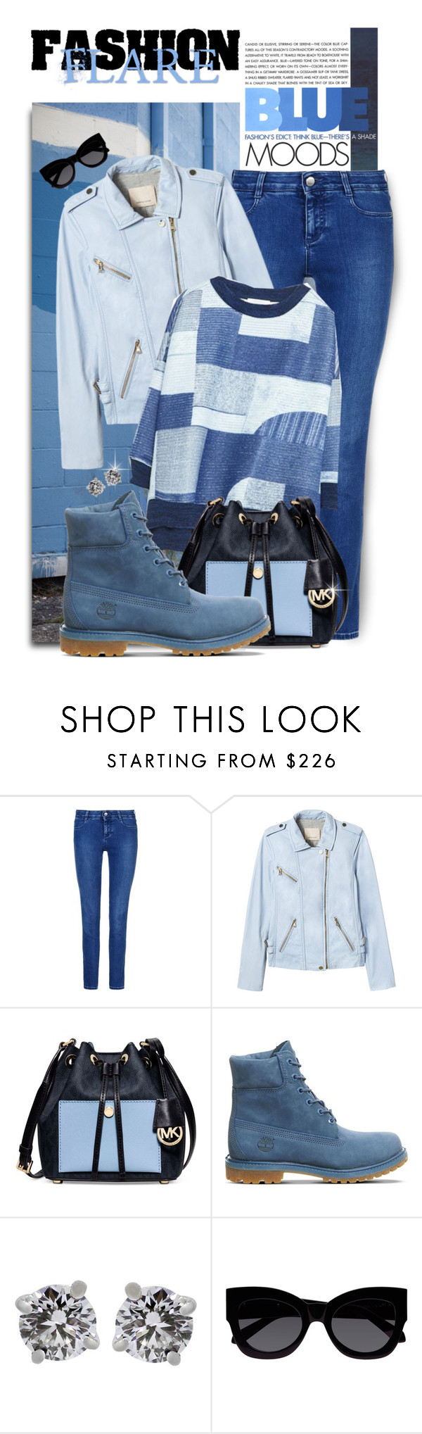 """""""Patchwork, Blues and Denim..Happy Friday !!!!"""" by shortyluv718 ❤ liked on Polyvore featuring STELLA McCARTNEY, Rebecca Taylor, Michael Kors, Timberland, Tiffany & Co. and Karen Walker"""