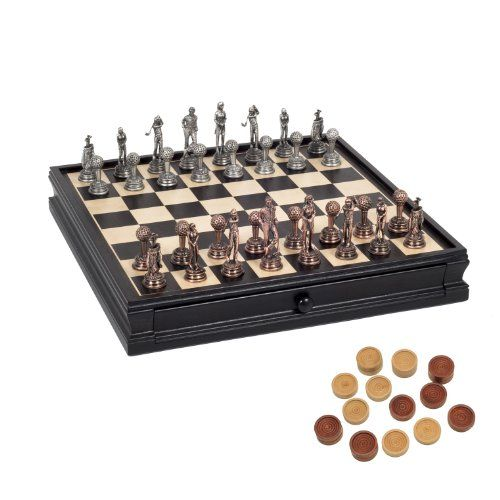 WE Games Golf Chess Checkers Game Set Pewter Chessmen ...