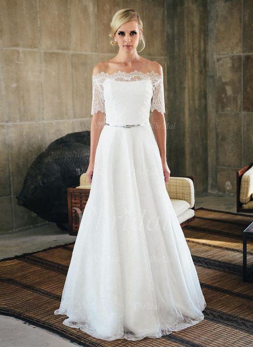 3e9efbc7e445 Bröllopsklänningar - $188.45 - A-linjeformat Axelbandslös Sweep släp Spets  Bröllopsklänning (0025059740)