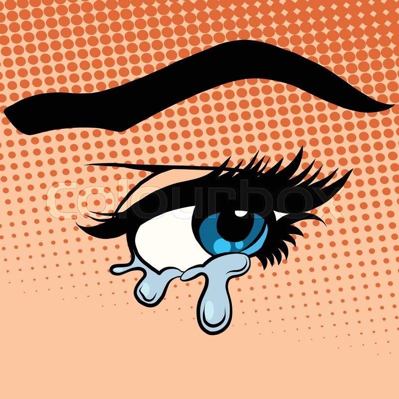 Stock vector of 'Woman eyes tears crying pop art retro