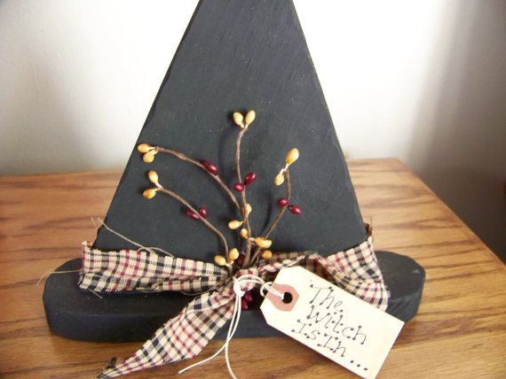 Primitive Wood Witch Hat with Burgundy and by MondaysChildPrims