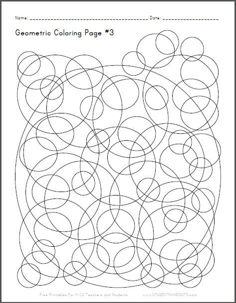 Neat geometric coloring page with checkerboard circles