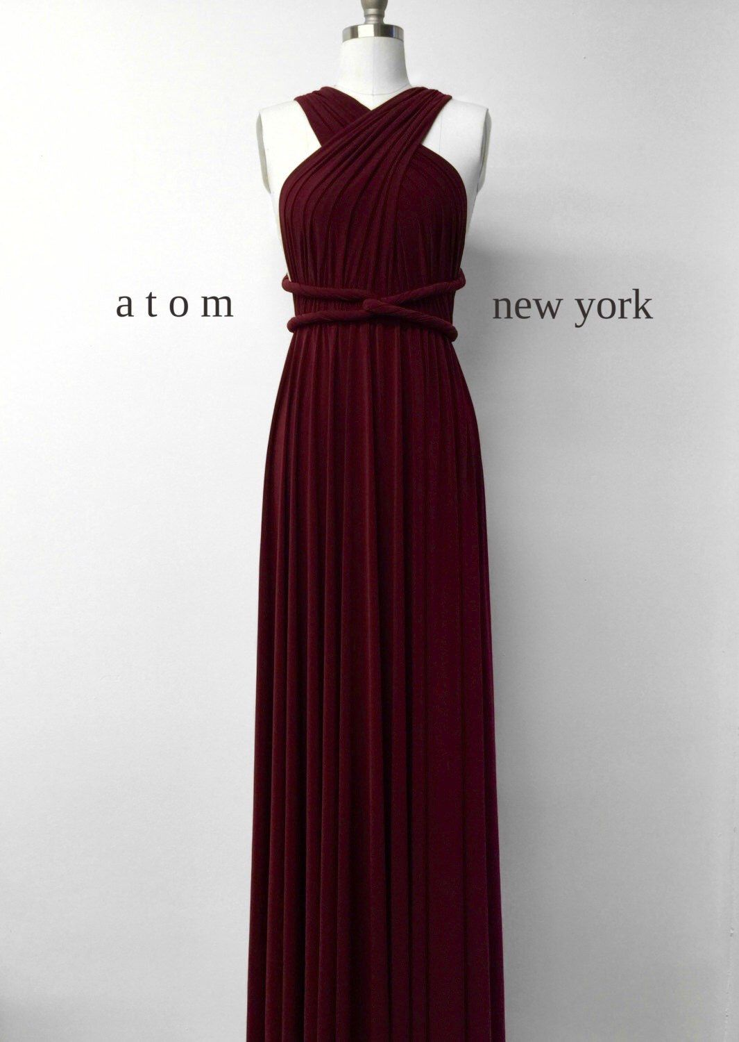 06b9e13bcac Burgundy Wine Red Floor Length Ball Gown Infinity Dress Convertible Formal  Multiway Wrap Dress Bridesmaid Dress