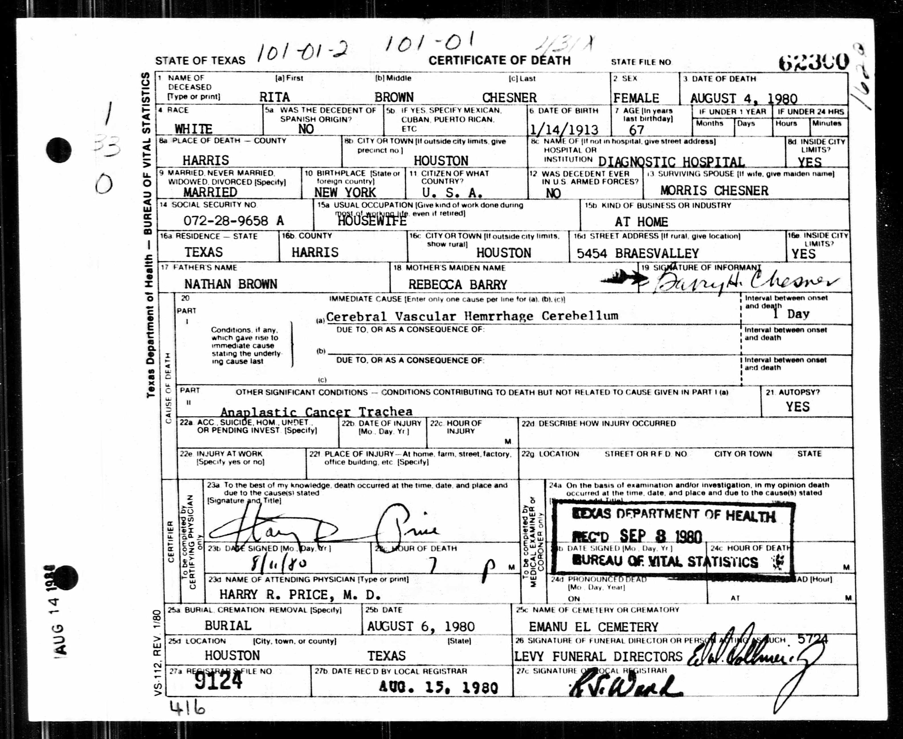 Rita Brown Chesner Death Certificate Birth Date: 14 Jan 1913 Birth ...