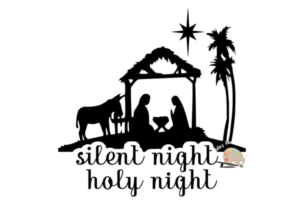 Silent Night Holy night svg file Christmas nativity svg
