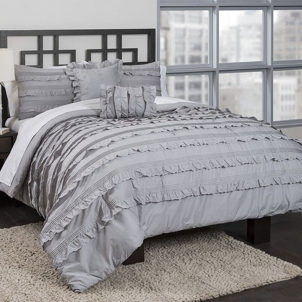 Republic Pintucked Ruffles Comforter Set Grey 100 Liked On Polyvore Featuring Home Bed Bath Bedding Comfo Ruffle Comforter Comforter Sets Comforters