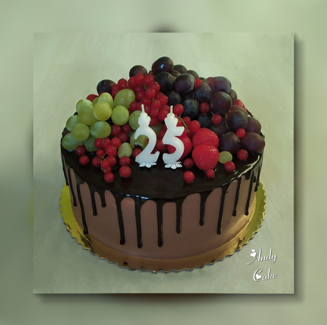 Chocolate birthday cake with fruits by AndyCake | Birthday ...