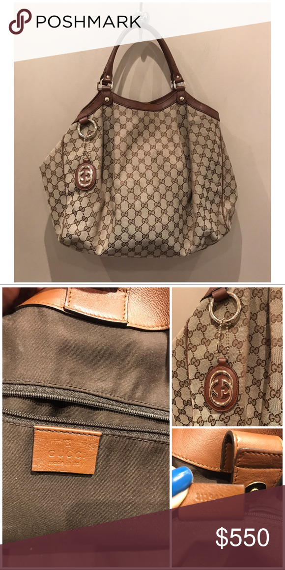 e977ef4de5ce73 Gucci gg Large Canvas Sukey Tote sukey original GG canvas tote beige/ebony original  GG canvas with brick orange leather trim double handles with 7″ drop ...