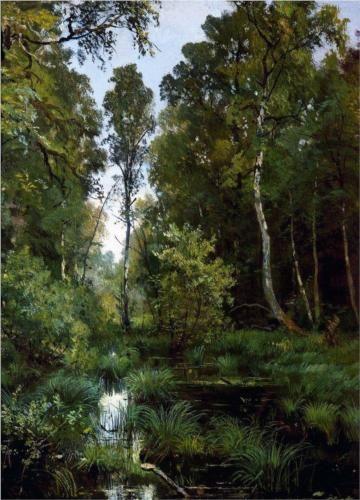 Ivan Shishkin (1832-1898): Overgrown pond at the edge of the forest. Siverskaya, 1883
