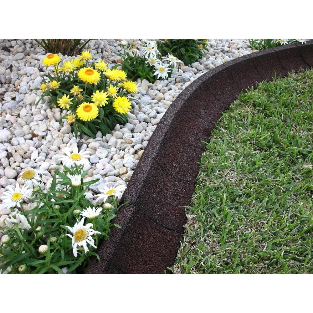 EcoBorder 4 ft. Brown Rubber Curb Landscape Edging (4Pack