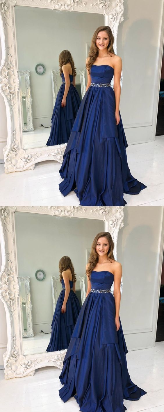 Gorgeous strapless navy blue long aline prom dress rosyprom