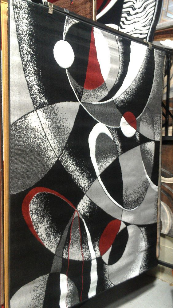 Abstract Contemporary 5x8 Red Black White Gray Area Rug Modern