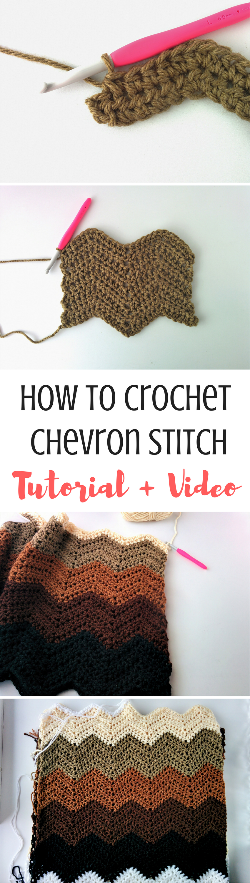 How to Crochet Chevron Stitch [Video + Written] | Pinterest | Häkeln ...