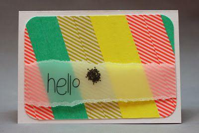 Khaos Karten - great design, washi tape, diagonals, stamping on vellum, torn paper
