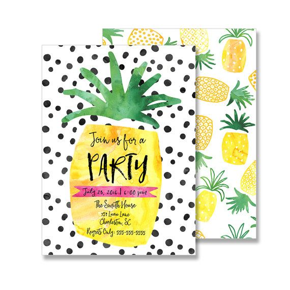 Pineapple Party Invitation Customized 5x7 Printable By FarmtoFete