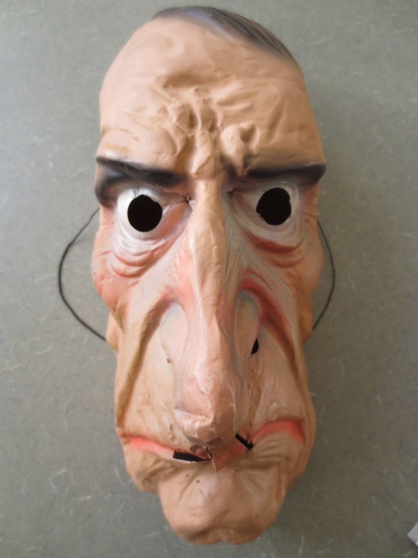 Vintage Halloween Mask, Plastic Old Man Face, Topstone Rubber ...