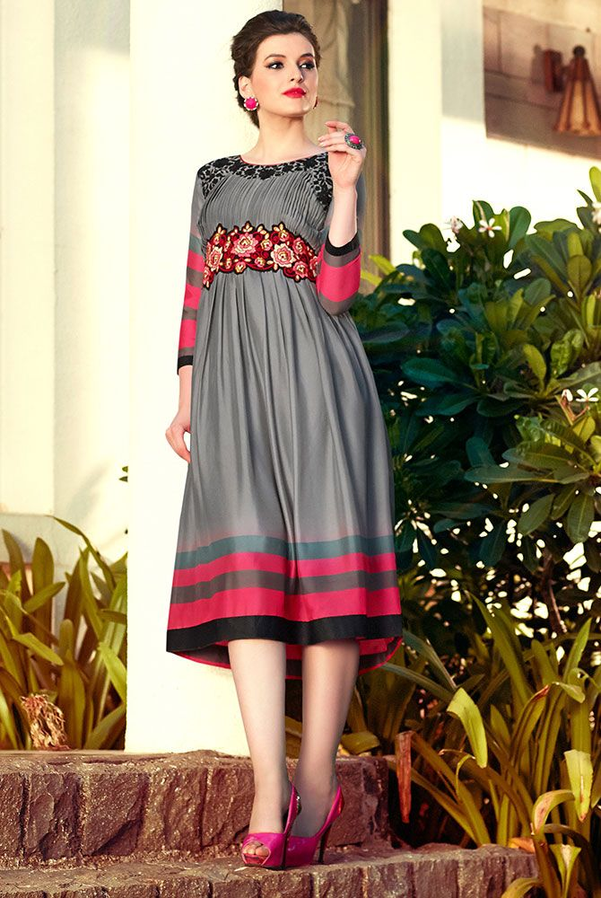 989a70922da  Grey Color Pure  Bamberg  Georgette Fabric  Kurti. This Beautiful Kurti is  covered with Black   Multi color  floral  embroidery work on neck line with  ...
