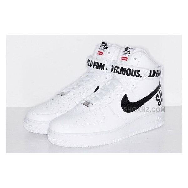 2015 Nike Af1 Air Force 1 High X Supreme Hi SP Shoes Classical White... ❤  liked on Polyvore featuring shoes, sneakers, white black shoes, black white  ...