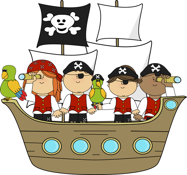 Pirates on Pirate Ship Clip Art - Pirates on Pirate Ship Image ...