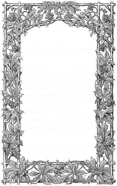 Victorian Vine Leaf Page Border Flower Printable Scrapbook Frames Coloring Pages
