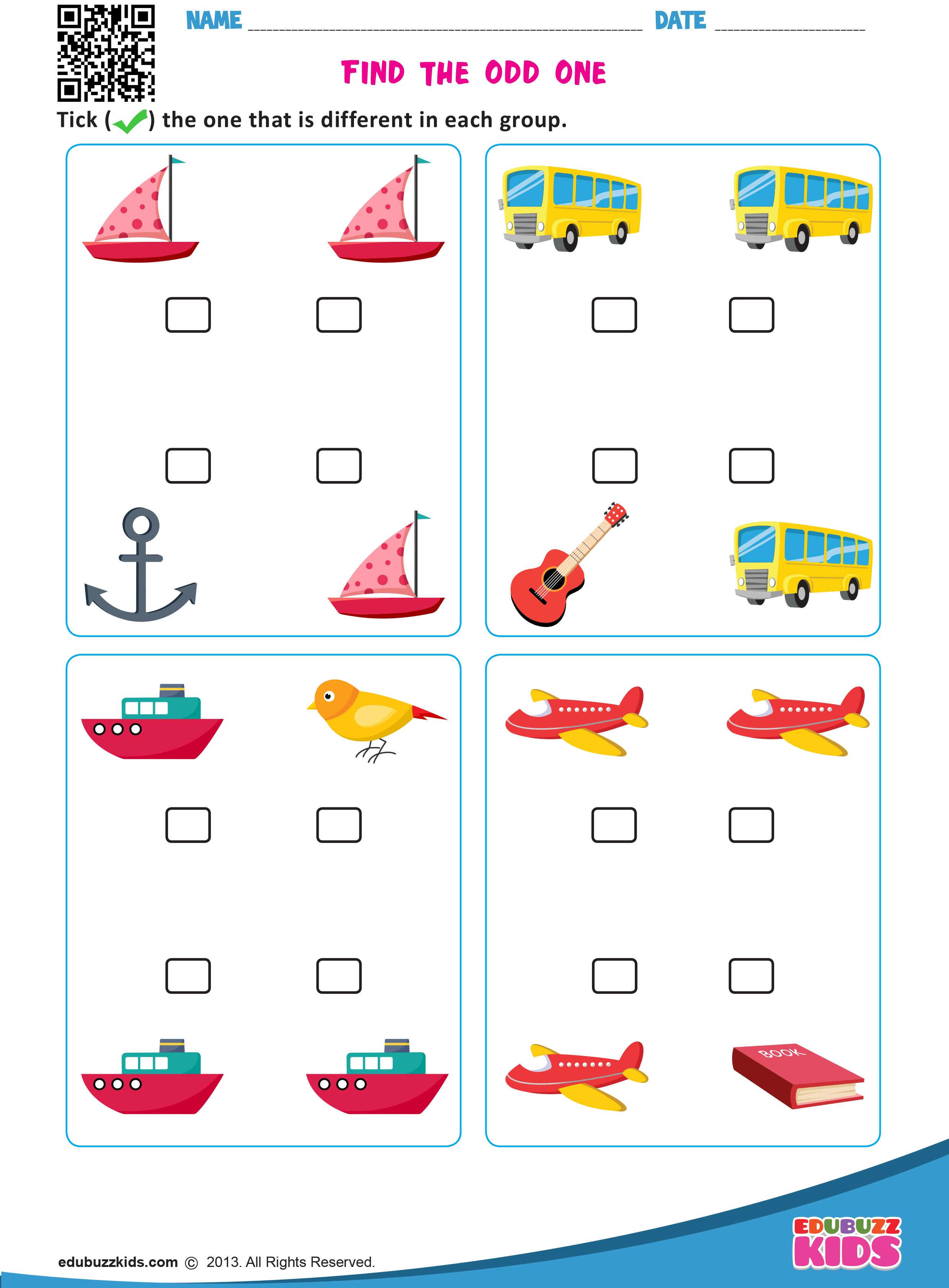 Kindergarten Find The Different Worksheets That Allow Kids