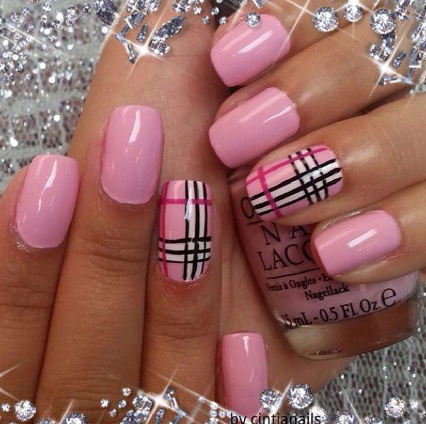 Pink Nails Plaid Nail Art Plaid Nails Nail Art